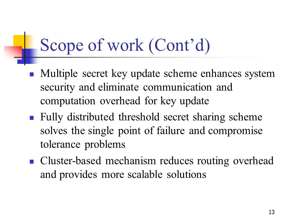 Scope of work (Cont'd) Multiple secret key update scheme enhances system security and eliminate communication and computation overhead for key update.