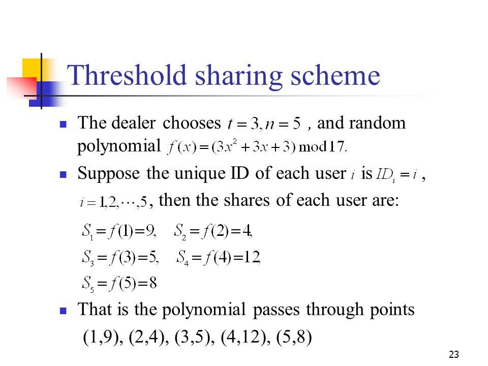 Threshold sharing scheme