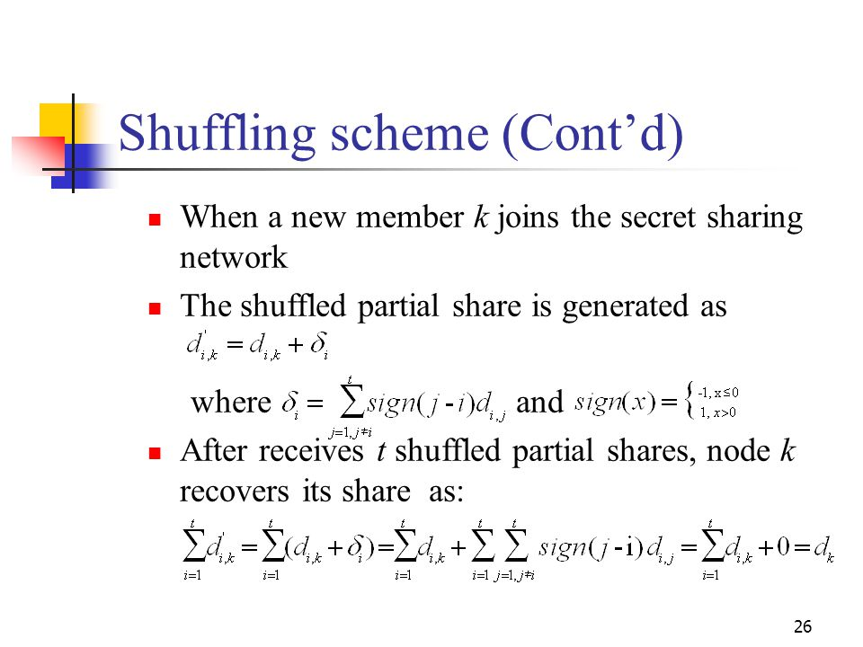 Shuffling scheme (Cont'd)