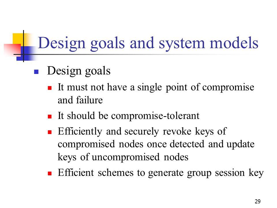Design goals and system models