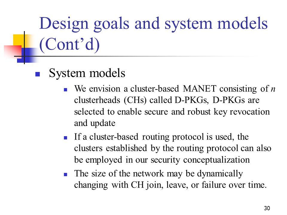 Design goals and system models (Cont'd)