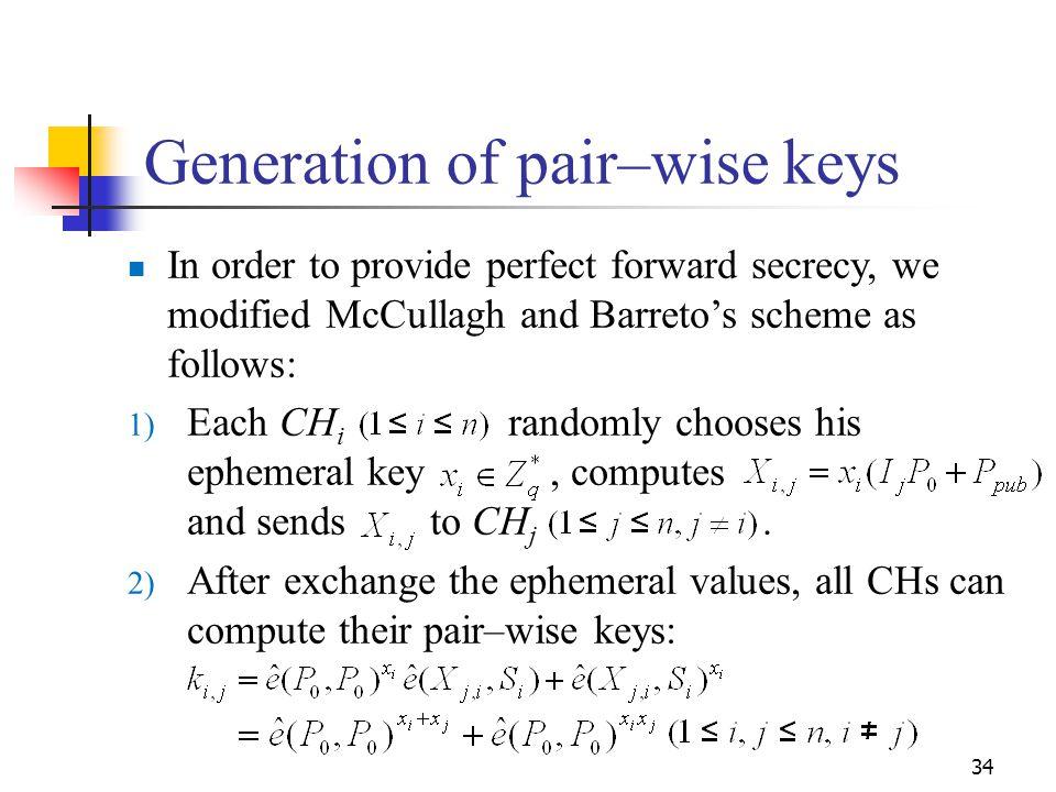 Generation of pair–wise keys