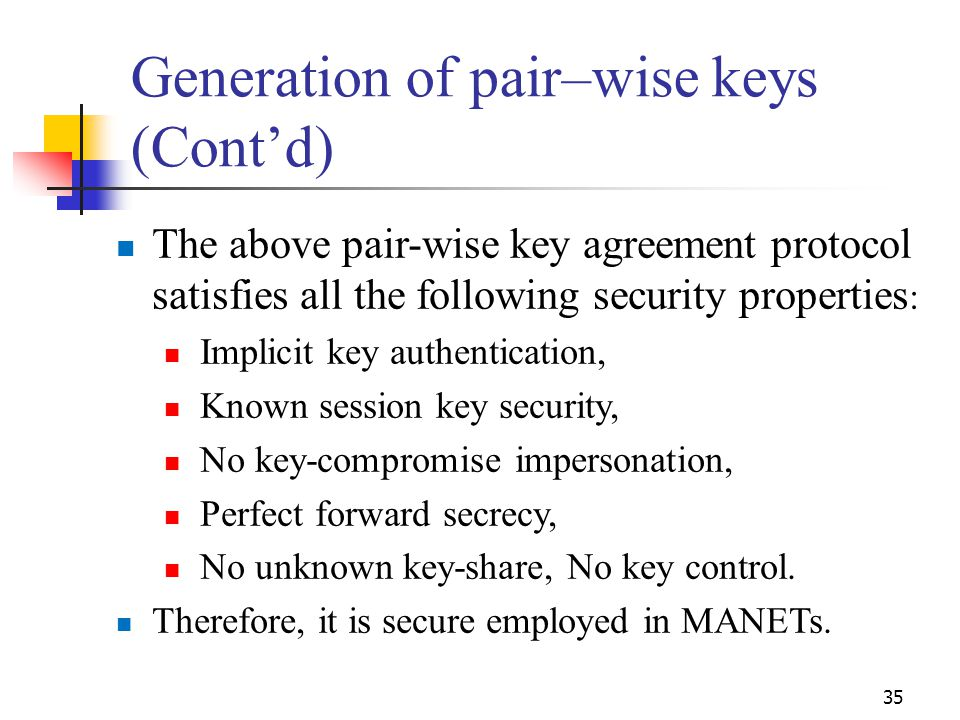 Generation of pair–wise keys (Cont'd)