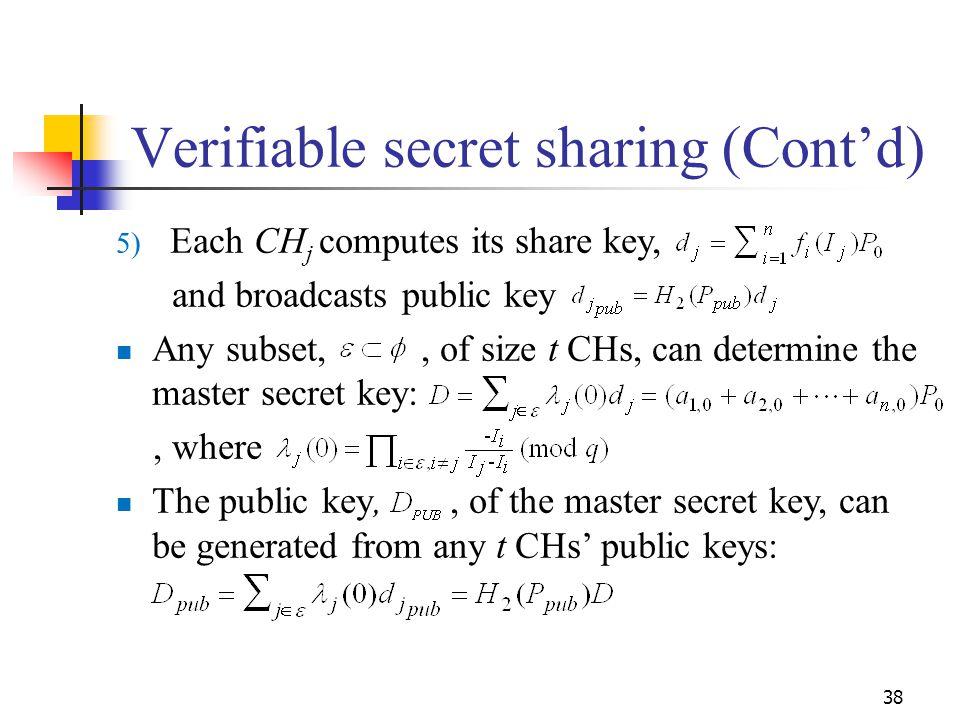 Verifiable secret sharing (Cont'd)
