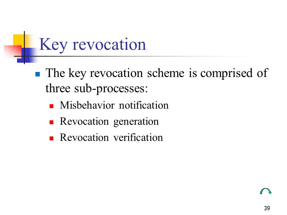 Key revocation The key revocation scheme is comprised of three sub-processes: Misbehavior notification.