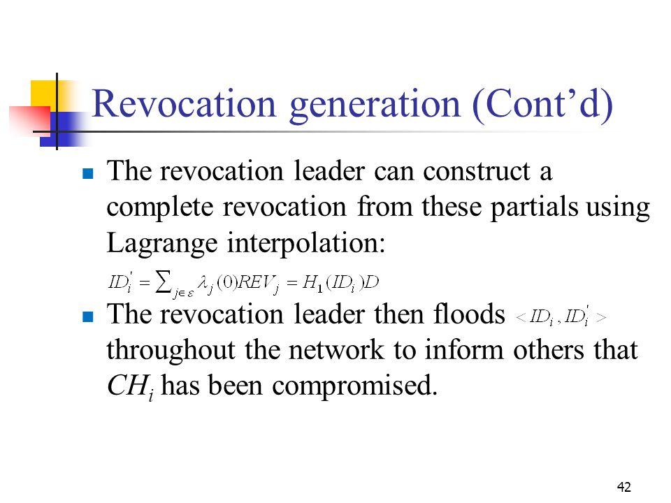 Revocation generation (Cont'd)