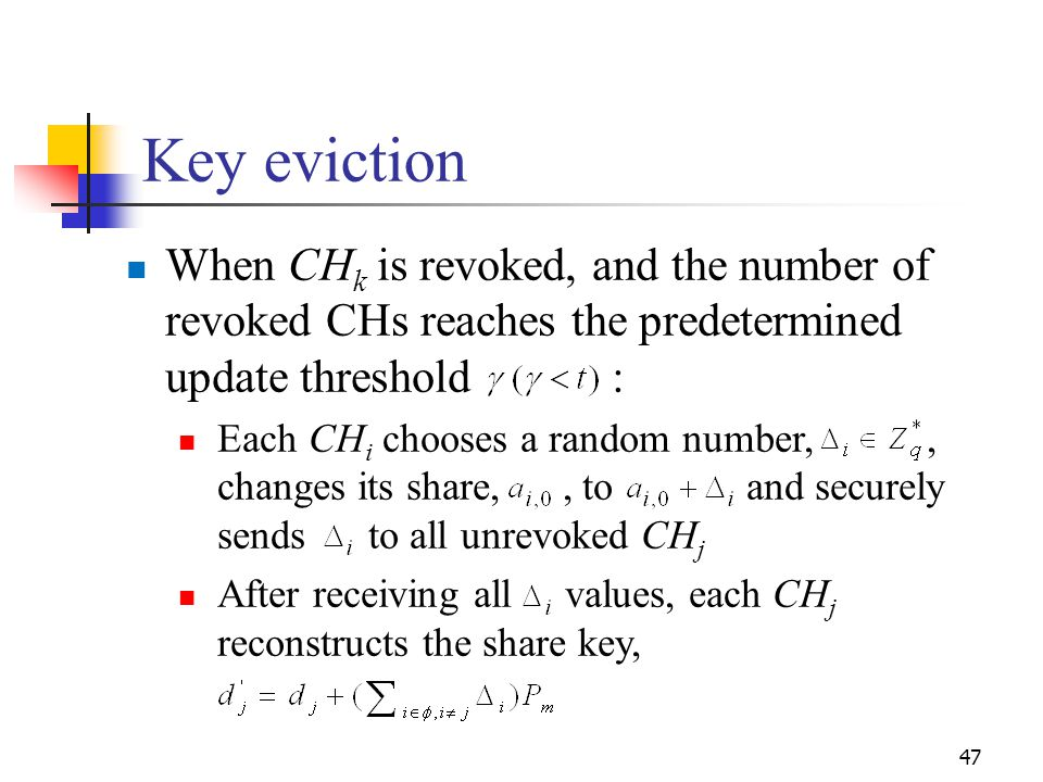 Key eviction When CHk is revoked, and the number of revoked CHs reaches the predetermined update threshold :