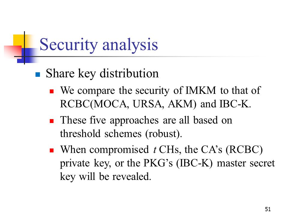 Security analysis Share key distribution