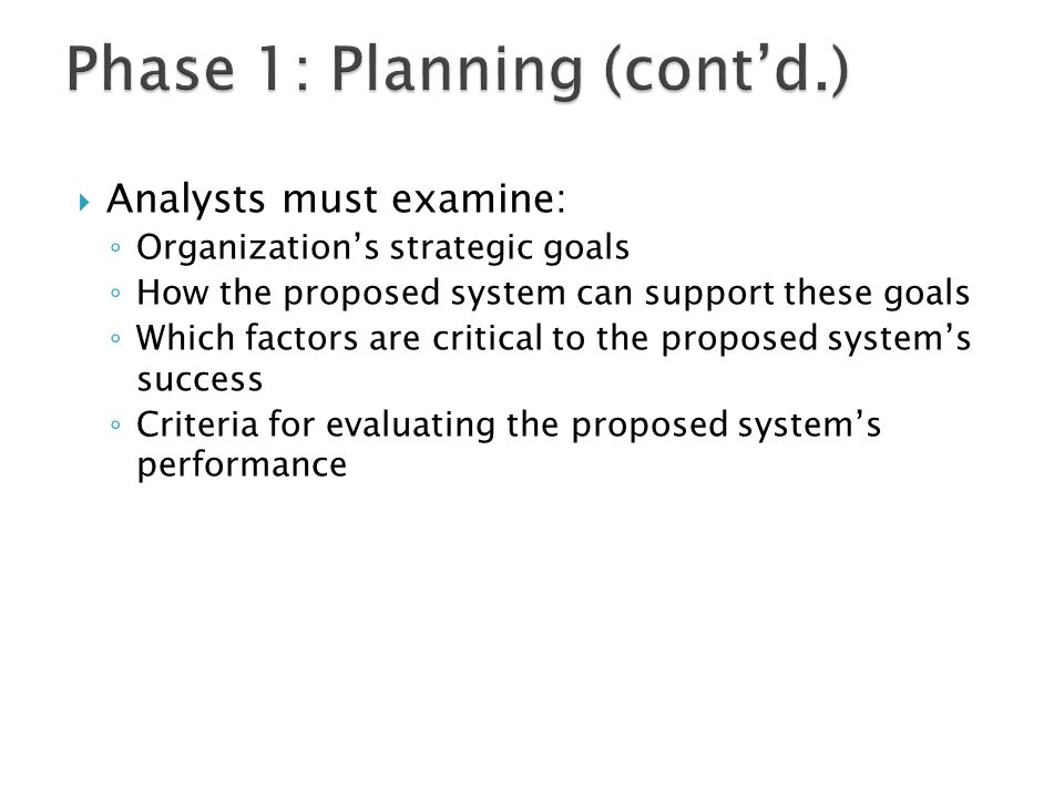 Phase 1: Planning (cont'd.)