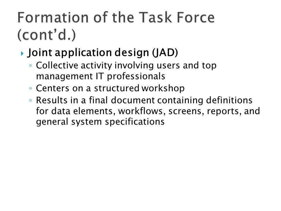 Formation of the Task Force (cont'd.)