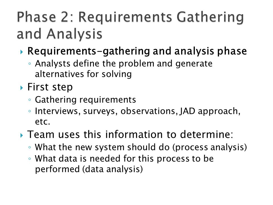 Phase 2: Requirements Gathering and Analysis