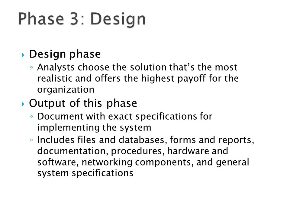 Phase 3: Design Design phase Output of this phase