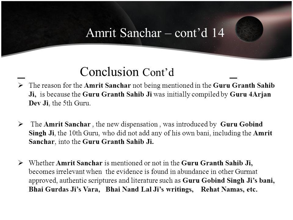 Amrit Sanchar – cont'd 14 _ Conclusion Cont'd _