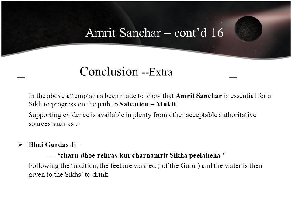 Amrit Sanchar – cont'd 16 _ Conclusion --Extra _