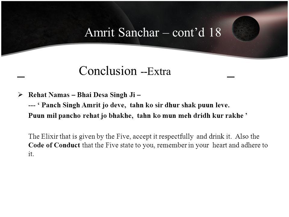Amrit Sanchar – cont'd 18 _ Conclusion --Extra _