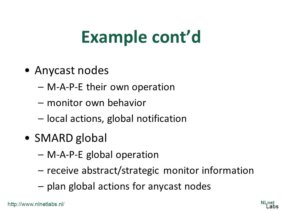 Example cont'd Anycast nodes SMARD global M-A-P-E their own operation
