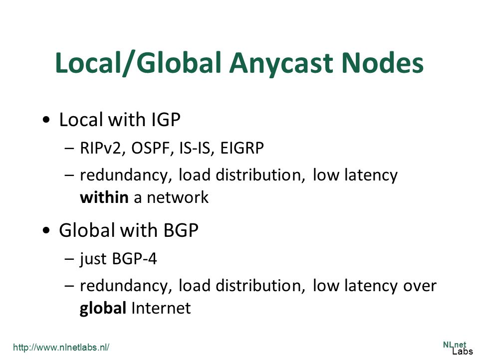 Local/Global Anycast Nodes