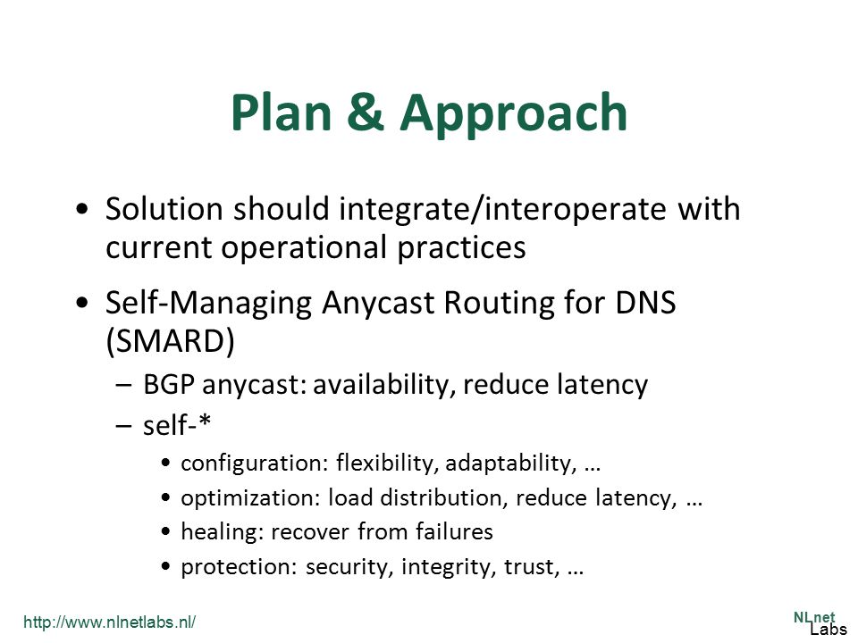 Plan & Approach Solution should integrate/interoperate with current operational practices. Self-Managing Anycast Routing for DNS (SMARD)