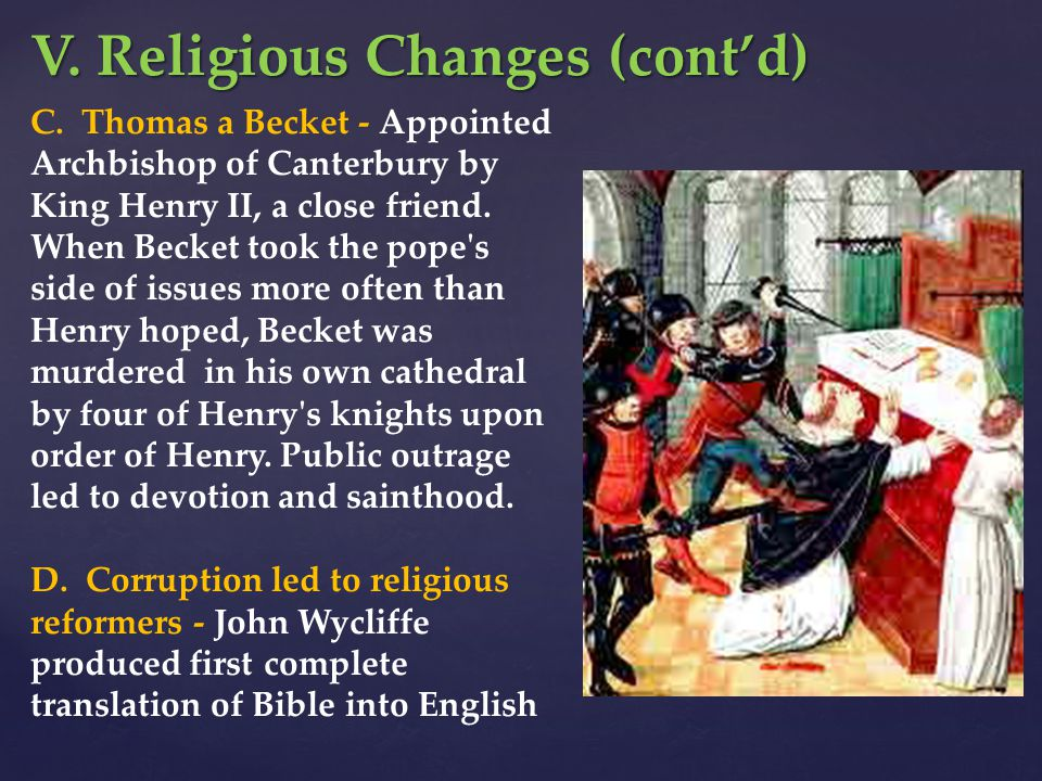 V. Religious Changes (cont'd)