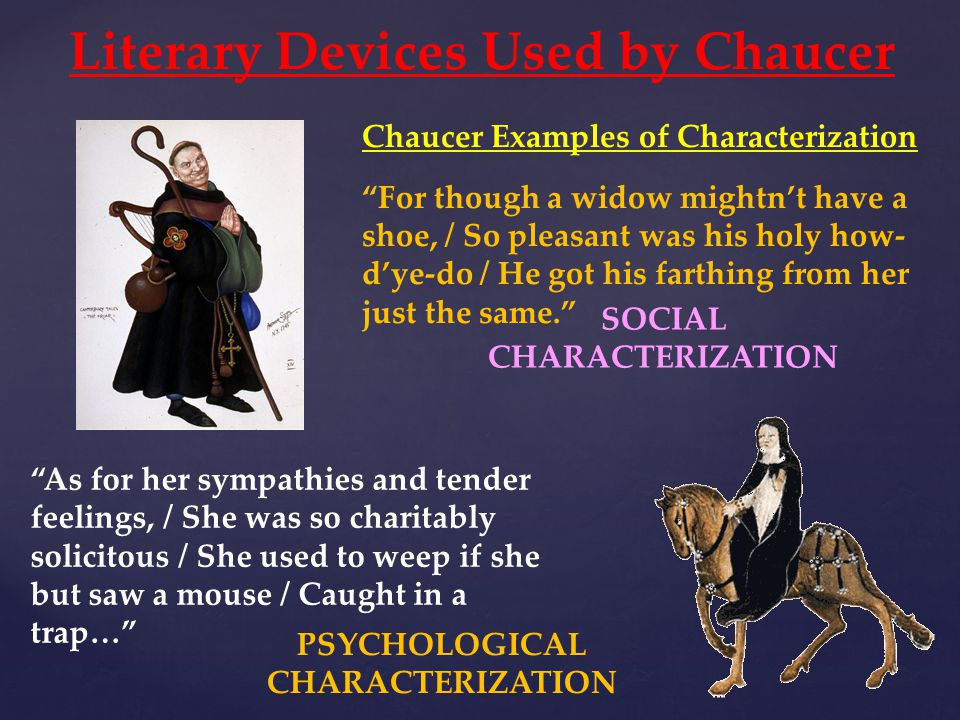 Literary Devices Used by Chaucer PSYCHOLOGICAL CHARACTERIZATION