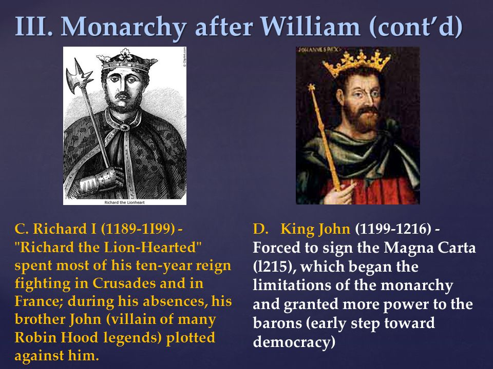 III. Monarchy after William (cont'd)