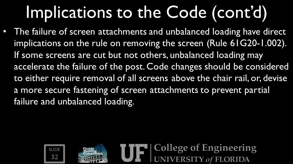 Implications to the Code (cont'd)