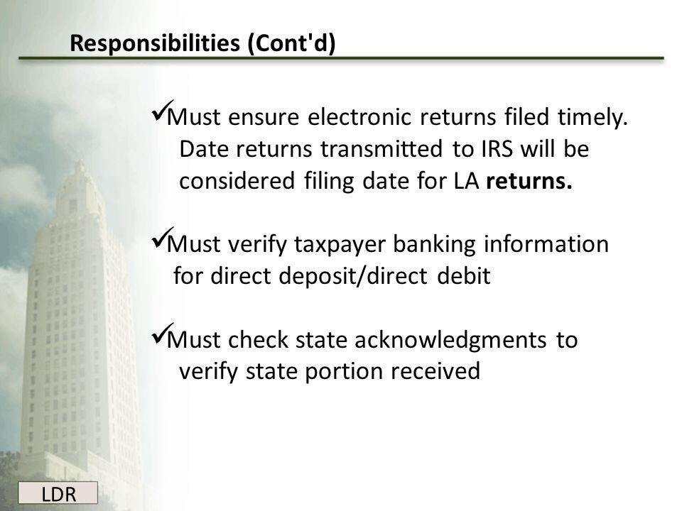 Responsibilities (Cont d)