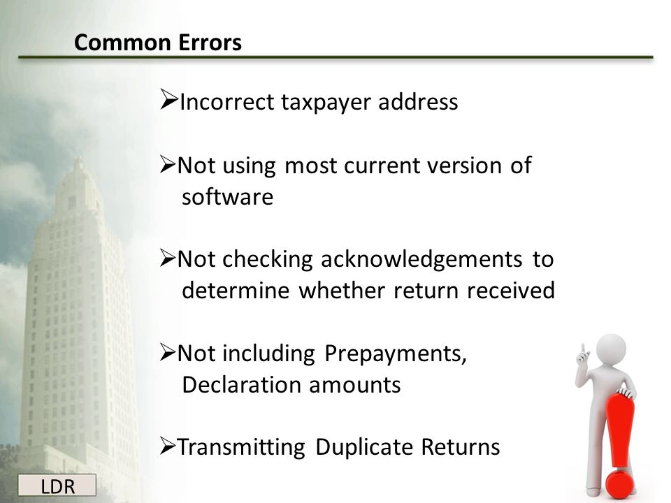 Incorrect taxpayer address