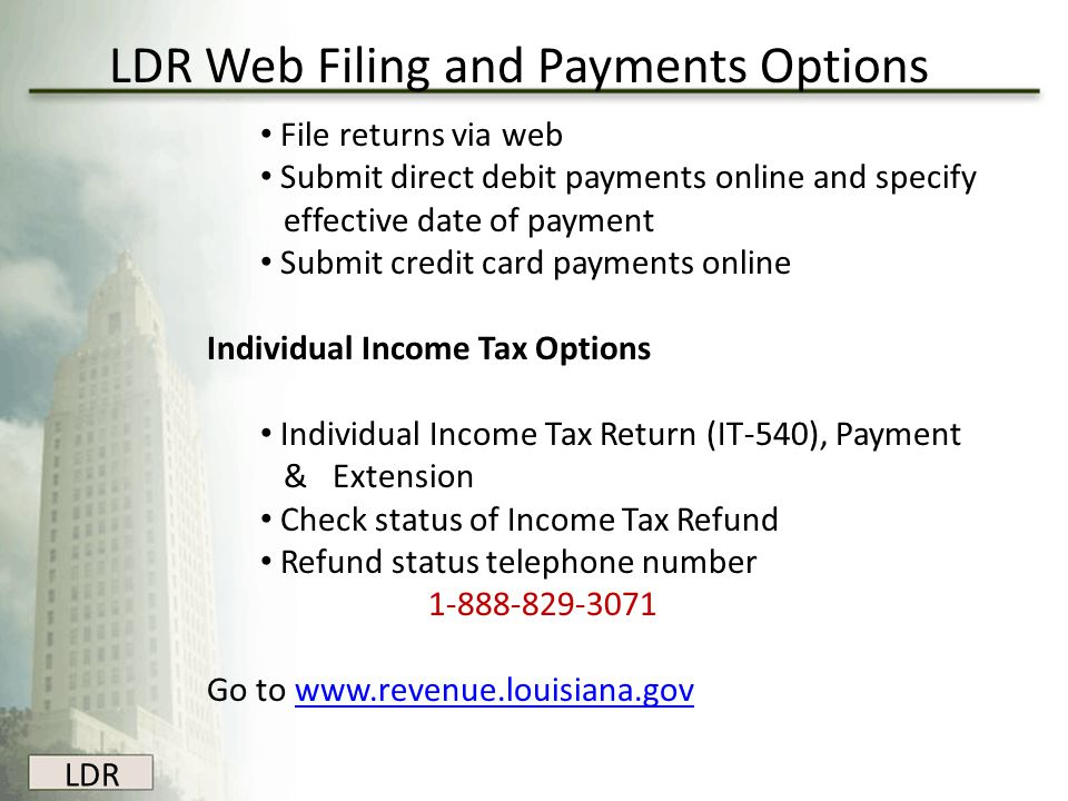 LDR Web Filing and Payments Options