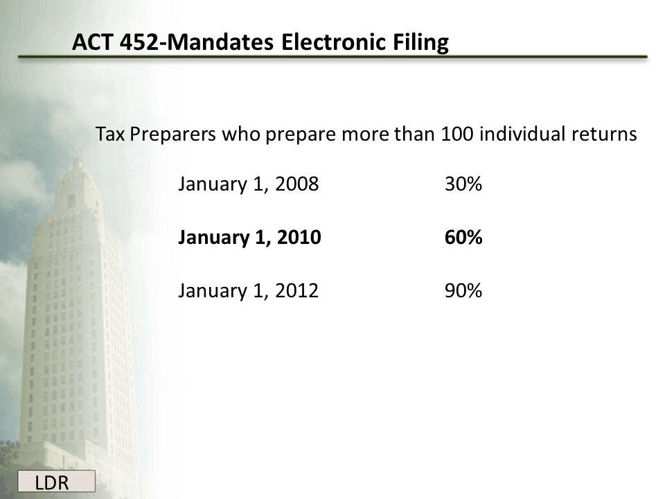 ACT 452-Mandates Electronic Filing