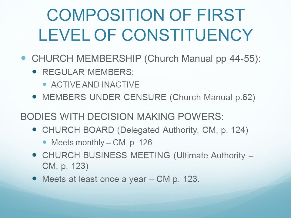 COMPOSITION OF FIRST LEVEL OF CONSTITUENCY