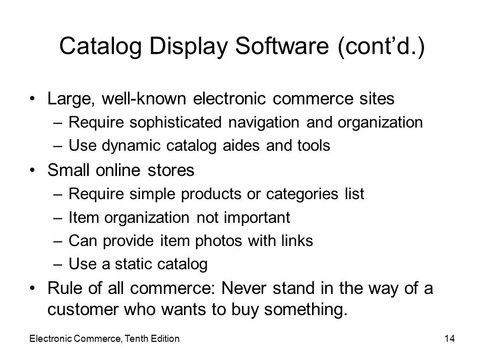 Catalog Display Software (cont'd.)