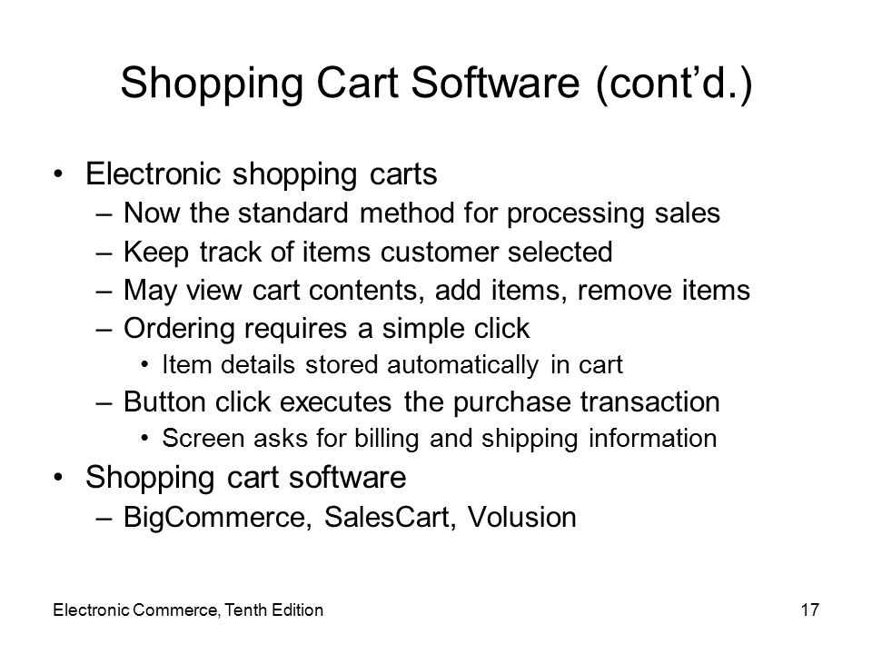 Shopping Cart Software (cont'd.)