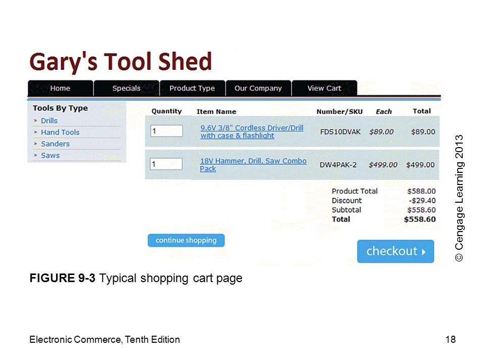 FIGURE 9-3 Typical shopping cart page