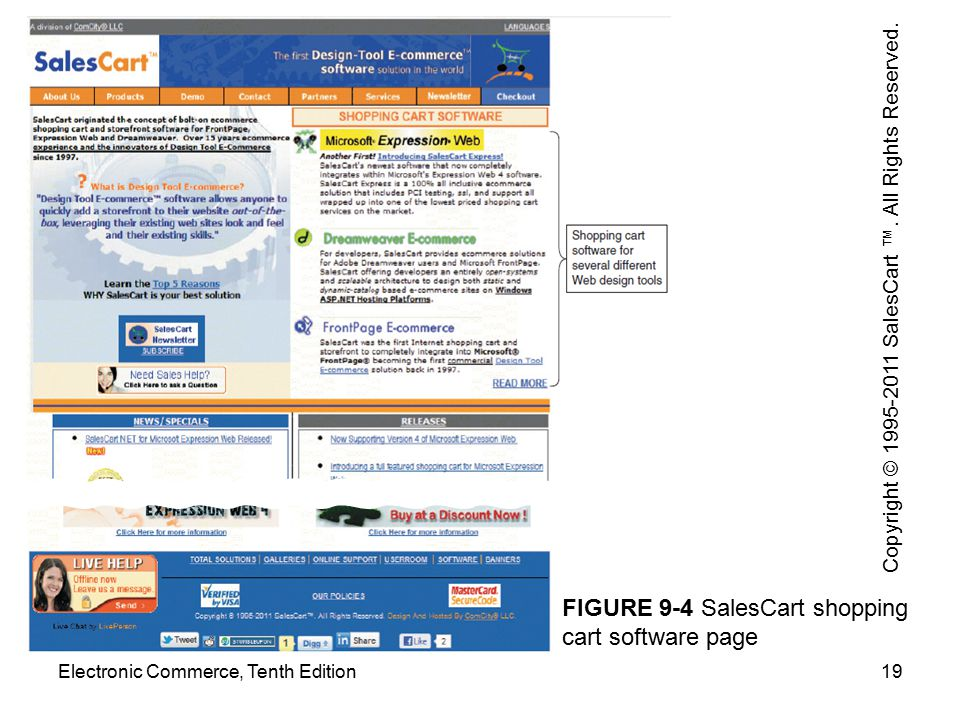 FIGURE 9-4 SalesCart shopping cart software page