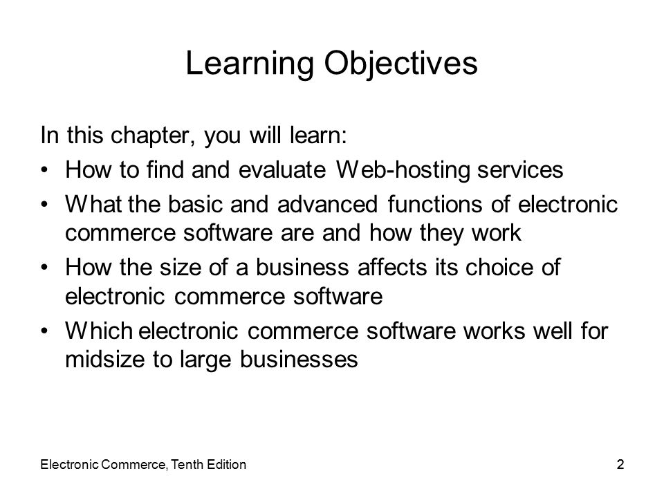 Learning Objectives In this chapter, you will learn: