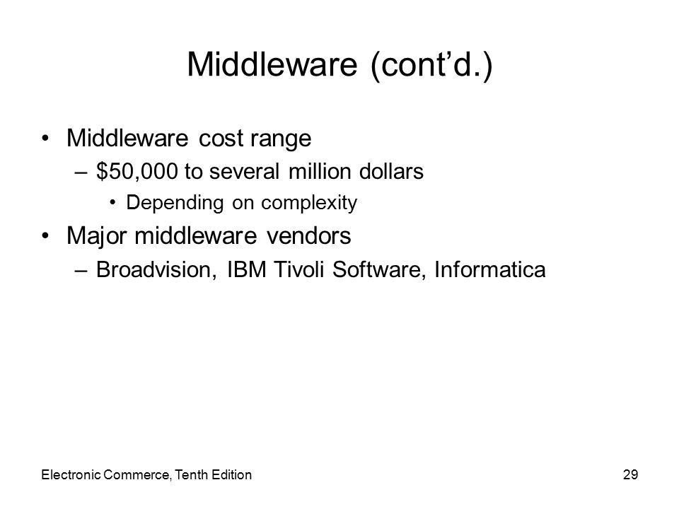 Middleware (cont'd.) Middleware cost range Major middleware vendors