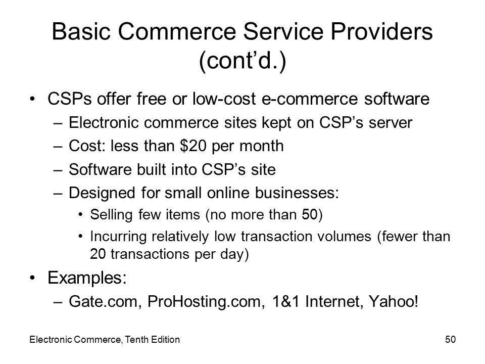 Basic Commerce Service Providers (cont'd.)