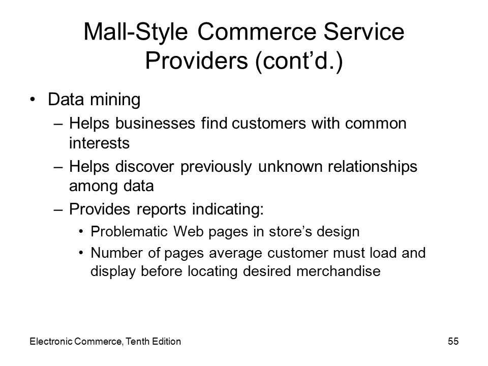 Mall-Style Commerce Service Providers (cont'd.)