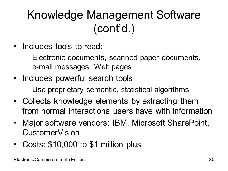 Knowledge Management Software (cont'd.)