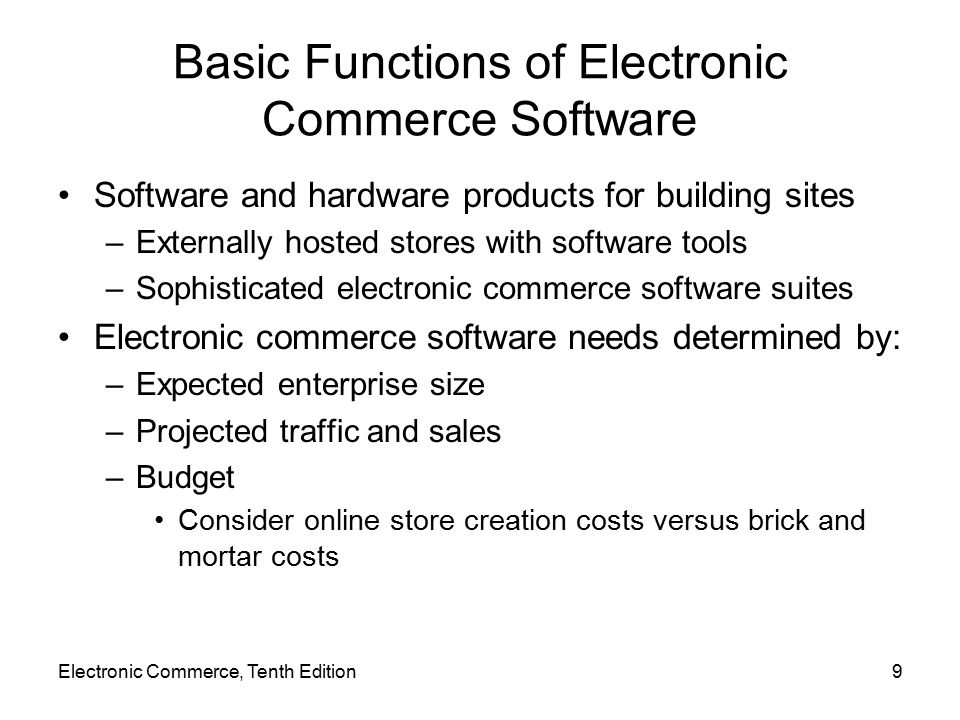 Basic Functions of Electronic Commerce Software