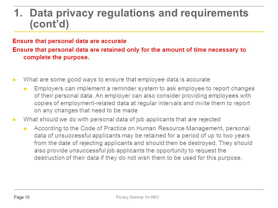 1. Data privacy regulations and requirements (cont'd)