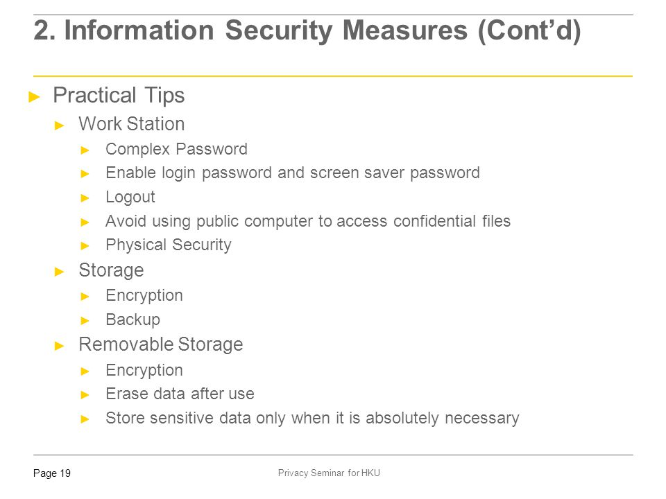 2. Information Security Measures (Cont'd)