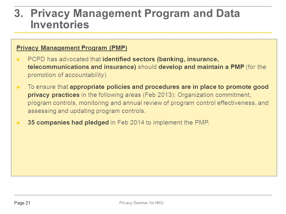 3. Privacy Management Program and Data Inventories