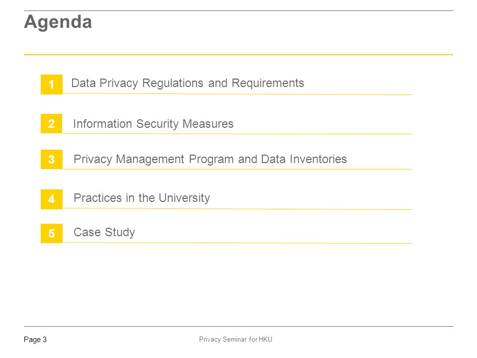 Agenda 1 Data Privacy Regulations and Requirements 2