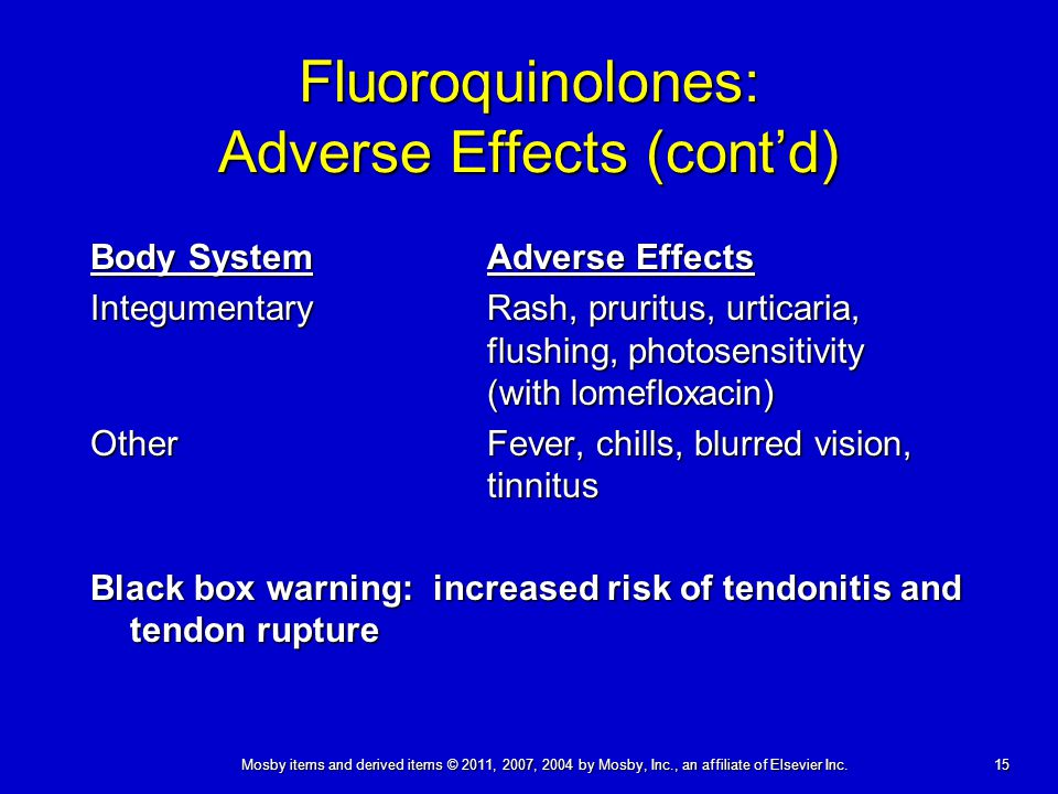 Fluoroquinolones: Adverse Effects (cont'd)