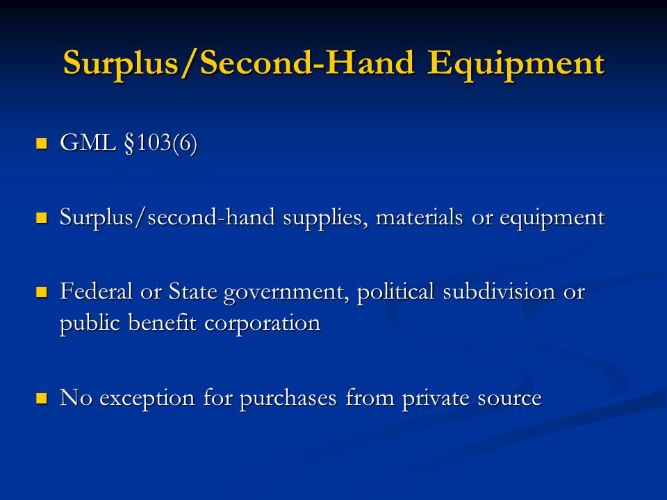 Surplus/Second-Hand Equipment