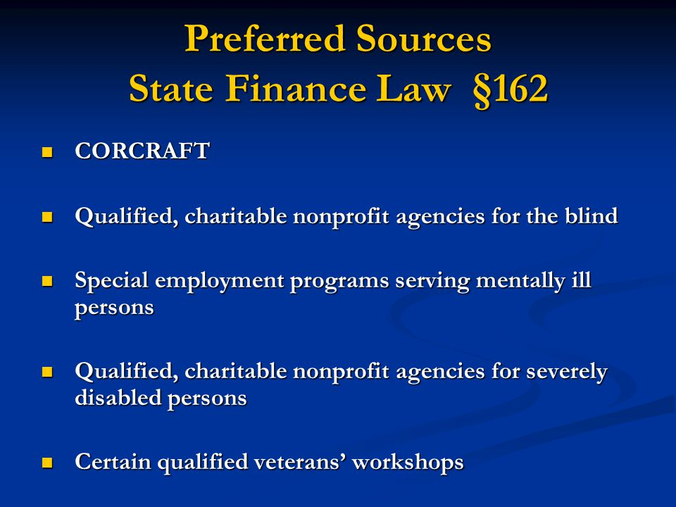 Preferred Sources State Finance Law §162