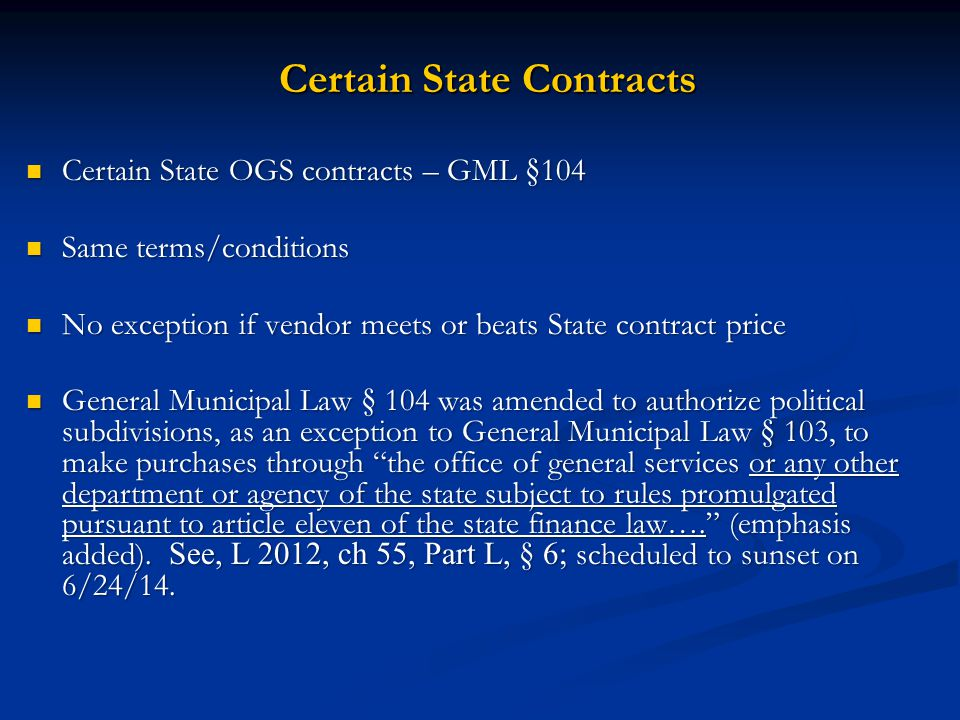 Certain State Contracts