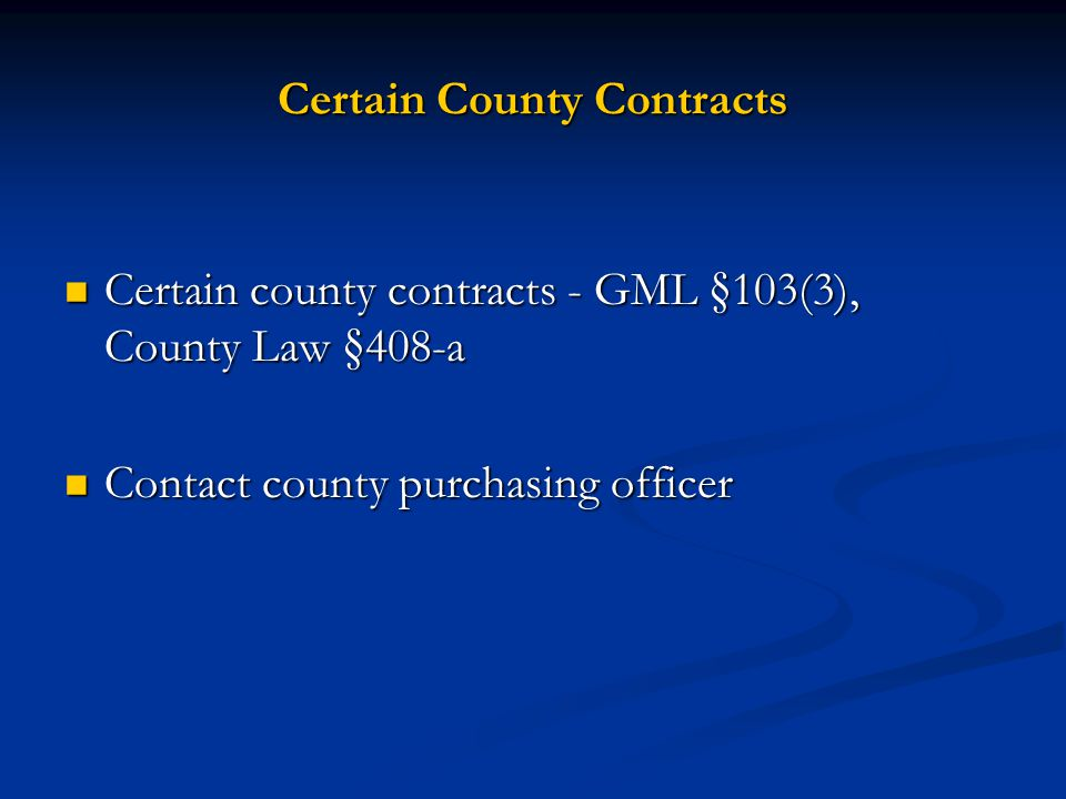 Certain County Contracts